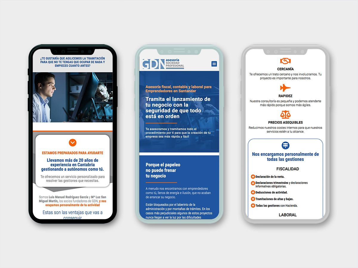pagina web para asesoría gdn en santander, adaptación móvil