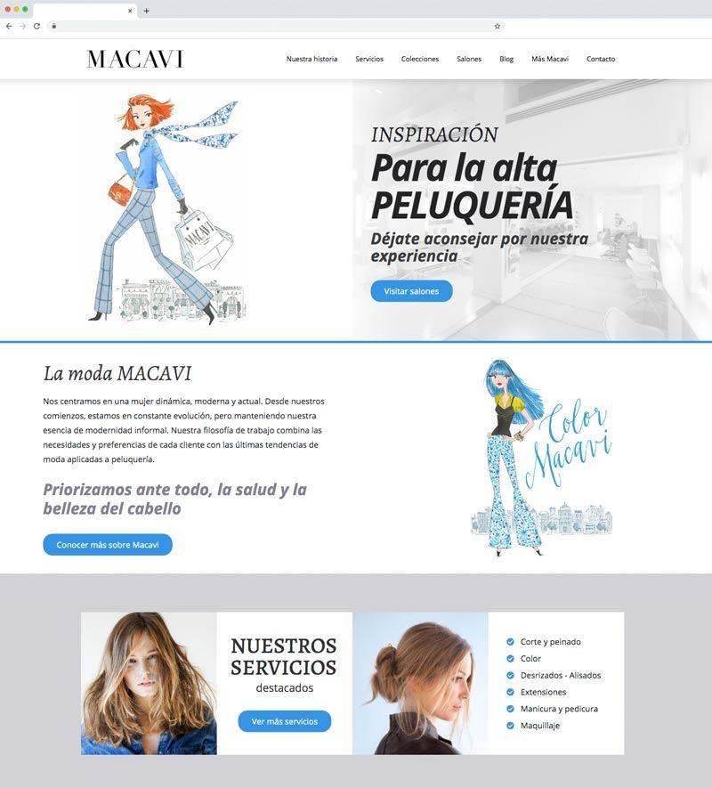 proyecto web Macavi, salones de Peluquería en Cantabria